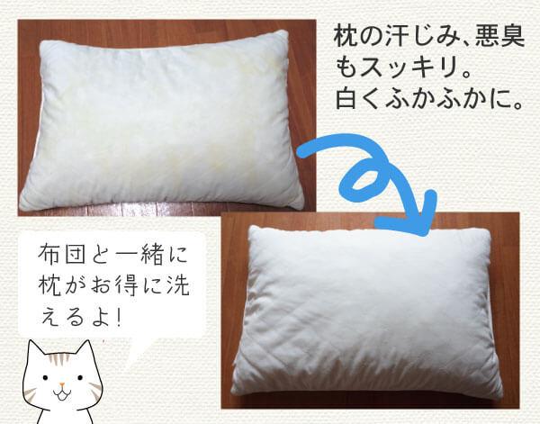 しももとクリーニングの枕のビフォーアフター